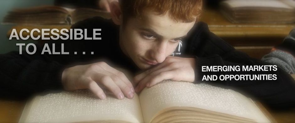 Be Informed_Accessible to All Training_Emerging Markets and Opportunies_Blind boy with red hair reading a braille book at school desk