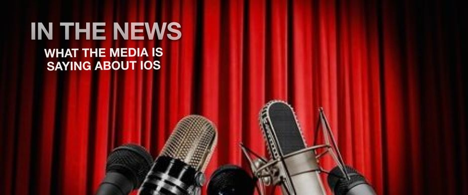 Be Informed_ I.O.S. Newsroom_What the media is saying about I.O.S._photo of five different microphones in front of a red velvet curtain.
