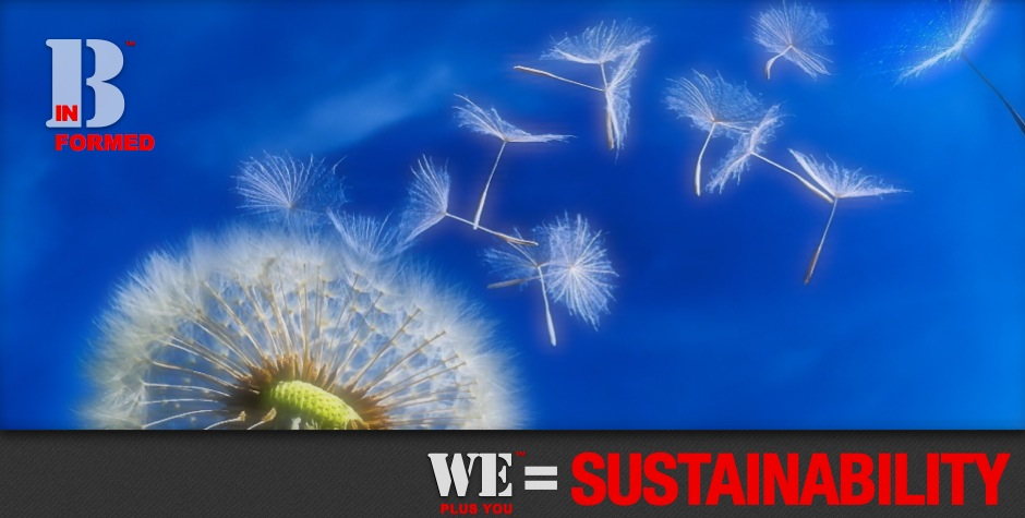 Be Informed_Sustainable Change_We Plus You Wequals Sustainability_photo of dandelion with seeds blowing into the wind