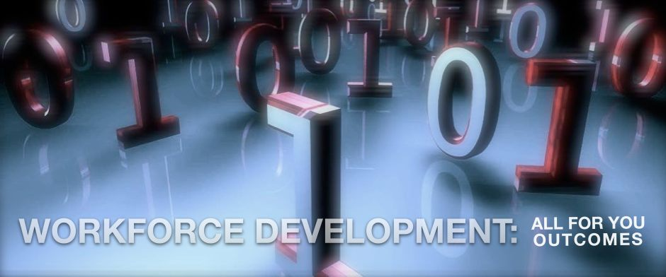 Be Informed_Workforce Development_ photo of binary ones and zero code on reflective tabletop