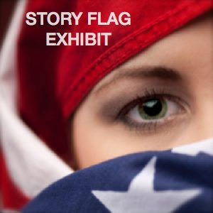 Woman's face with green eyes wrapped by American flag burcah