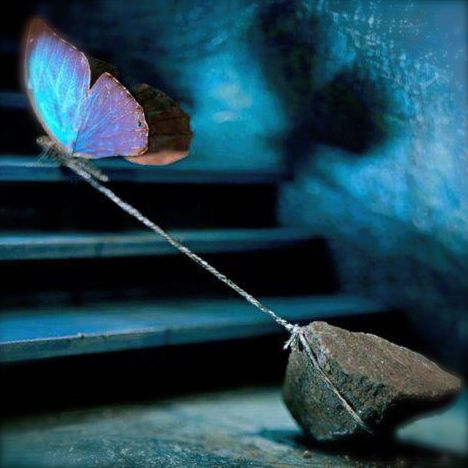 About_Supporters_photo illustration of a butterfly pulling a rock up a flight of stairs