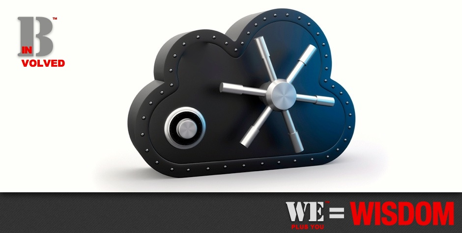 Be Involved_Contribute Content_We Plus You Equals Wisdom_phot illustration of cloud shaped safe with combination and 360 degree safe handle against a white background