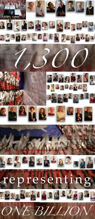 Be Involved_Story Flag Exhibit_photo montage of story flag and 100 people whose video histories reside in the I.O.S archives.