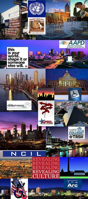 Be Involved_Story Flag Exhibit_photo montage of disability organization logos with photos of story flag and city skylines