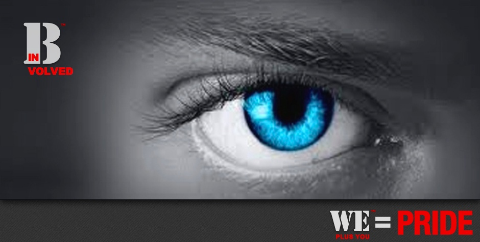 Be Involved_Volunteer_We Plus You Equals Pride_black and white photo of a woman's eye colored blue