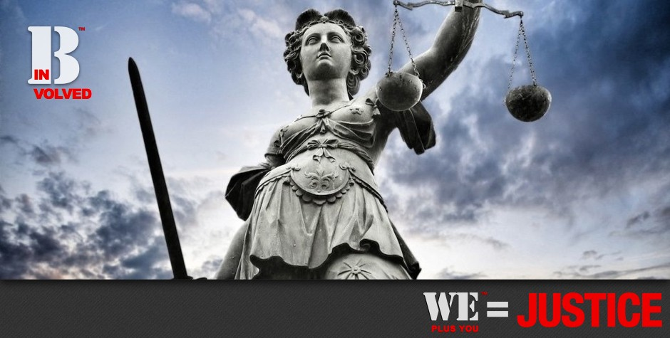 Contact_Be Involved_We Plus You Equals Justice_photo of lady justice with sword in one hand and scales held high against a blue sky with wispy clouds