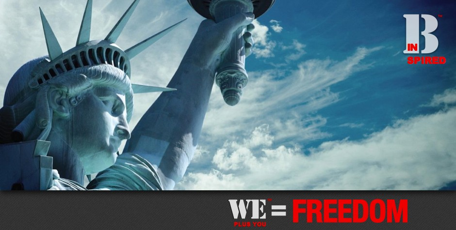 Donate_Be Inspired_We Plus You Equals Freedom_photo of Statue of Liberty face against a blue sky with wispy white clouds