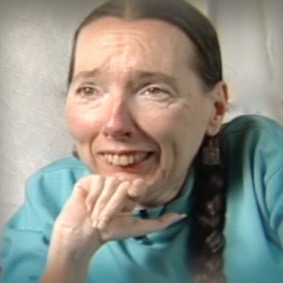 Harriet McBryde Johnson is pictured, smiling, in an interview from the It's Our Story project.